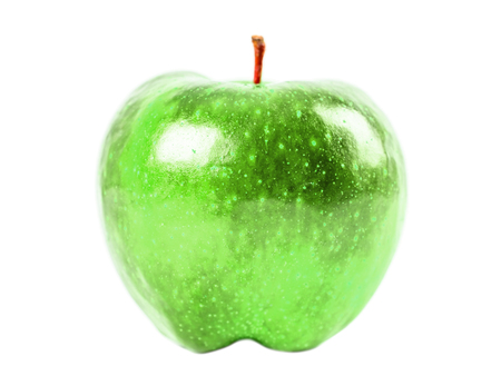 vibrancy: Green Apple Isolated On White Stock Photo