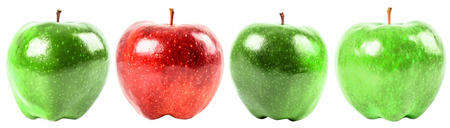 alone in crowd: Different From The Crowd Concept With Red Delicious Apple Among Green Apples