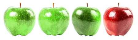 green apples: Different From The Crowd Concept With Red Delicious Apple Among Green Apples