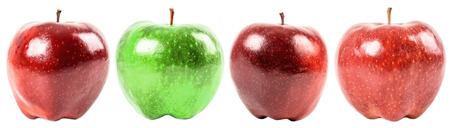 Stand Out From The Crowd Concept With Green Apple Among Red Apples