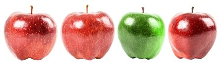 stand out: Stand Out From The Crowd Concept With Green Apple Among Red Apples