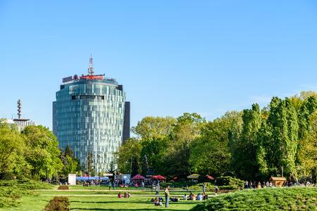 people having fun: BUCHAREST, ROMANIA - APRIL 16, 2016: People Having Fun In Herastrau Public Park On Spring Day. Editorial