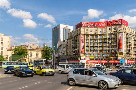 romana: BUCHAREST, ROMANIA - MAY 11, 2016: Rush Hour Traffic In Downtown Roman Square (Piata Romana) Of Bucharest City.