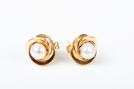 ear ring: Gold Earrings With Pearl On White