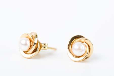 earrings: Gold Earrings With Pearl On White