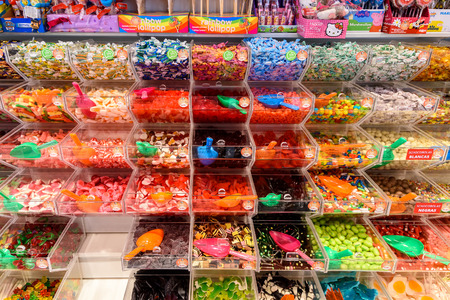 VALENCIA, SPAIN - JULY 20, 2016: Various Colorful Sweet Jelly For Sale In Candy Store. Editöryel