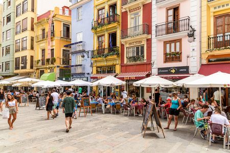 VALENCIA, SPAIN - JULY 20, 2016: Tourists Having Lunch At Outdoor Restaurant Downtown Mercat Central (Mercado Central or Central Market) Square.