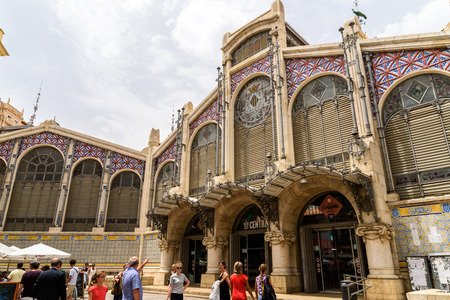 VALENCIA, SPAIN - JULY 20, 2016: From 1928 Mercado Central or Mercat Central (Central Market) is a public market located in across from the Llotja de la Seda and church of Juanes in downtown Valencia.