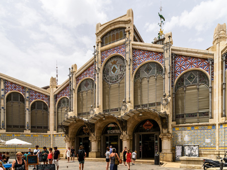 VALENCIA, SPAIN - JULY 20, 2016: From 1928 Mercado Central or Mercat Central (Central Market) is a public market located in across from the Llotja de la Seda and church of Juanes in downtown Valencia. Editorial