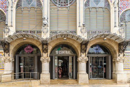 mercado central: VALENCIA, SPAIN - JULY 20, 2016: From 1928 Mercado Central or Mercat Central (Central Market) is a public market located in across from the Llotja de la Seda and church of Juanes in downtown Valencia.