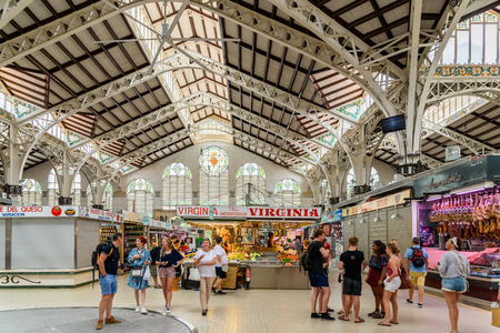 public market: VALENCIA, SPAIN - JULY 20, 2016: From 1928 Mercado Central or Mercat Central (Central Market) is a public market located in across from the Llotja de la Seda and church of Juanes in downtown Valencia.
