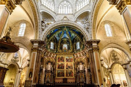 VALENCIA, SPAIN - JULY 20, 2016: Metropolitan Cathedral–Basilica of the Assumption of Our Lady of Valencia (Saint Marys Cathedral or Valencia Cathedral) is a Roman Catholic parish church in Valencia.