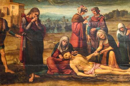 deposition: VALENCIA, SPAIN - JULY 20, 2016: Biblical Scene Painting Of Jesus Crucifixion In Metropolitan Cathedral–Basilica of the Assumption of Our Lady of Valencia (Saint Marys Cathedral). Editorial