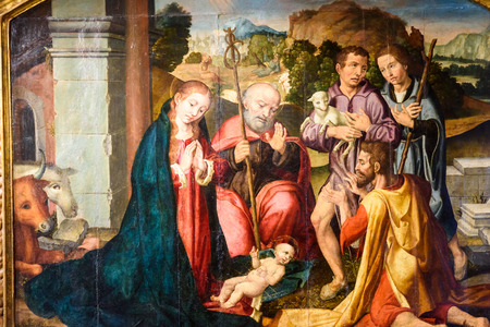 VALENCIA, SPAIN - JULY 20, 2016: Biblical Scene Painting Of Baby Jesus In Cradle In Metropolitan Cathedral–Basilica of the Assumption of Our Lady of Valencia (Saint Mary's Cathedral). Editorial