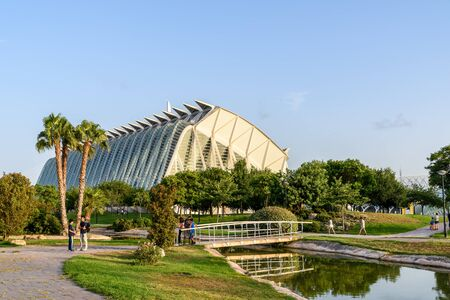 arts and entertainment: VALENCIA, SPAIN - JULY 21, 2016: Prince Philip Science Museum of City of Arts and Sciences is an entertainment based cultural and architectural complex in the city of Valencia.
