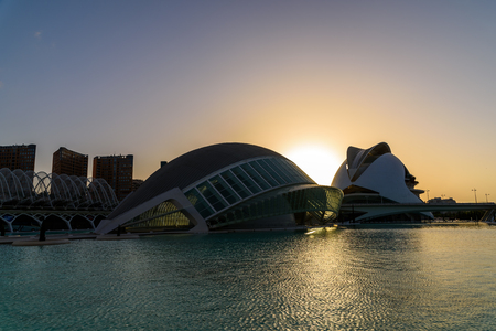 arts and entertainment: VALENCIA, SPAIN - JULY 21, 2016: Hemispheric and Reina (Queen) Sofia Palace of Arts of City of Arts and Sciences is an entertainment based cultural and architectural complex in the city of Valencia.