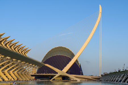 arts and entertainment: VALENCIA, SPAIN - JULY 21, 2016: Prince Philip Science Museum and Agora of City of Arts and Sciences is an entertainment based cultural and architectural complex in the city of Valencia. Editorial