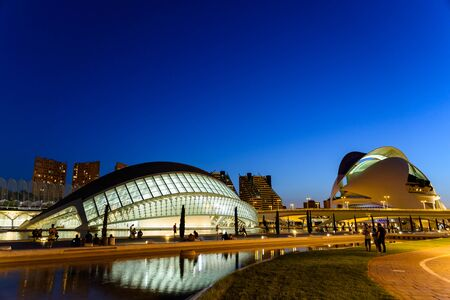 hemispheric: VALENCIA, SPAIN - JULY 21, 2016: Hemispheric and Reina (Queen) Sofia Palace of Arts of City of Arts and Sciences is an entertainment based cultural and architectural complex in the city of Valencia.