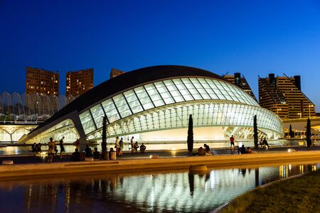 parametric: VALENCIA, SPAIN - JULY 21, 2016: Hemispheric of Arts of City of Arts and Sciences is an entertainment based cultural and architectural complex in the city of Valencia.