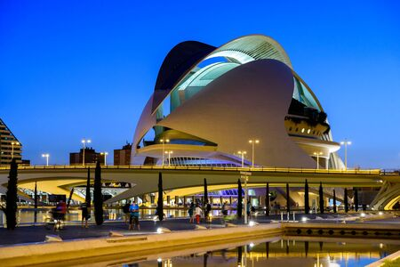 arts and entertainment: VALENCIA, SPAIN - JULY 21, 2016: Reina (Queen) Sofia Palace of Arts of City of Arts and Sciences is an entertainment based cultural and architectural complex in the city of Valencia.
