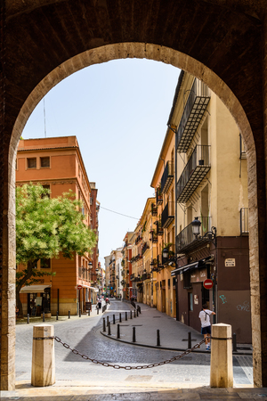 VALENCIA, SPAIN - JULY 21, 2016: Gate Of Torres de Quart A Pair Of Twin Towers That Were Part Of The Medieval Defense Wall Surrounding Old Town of Valencia City. Editorial
