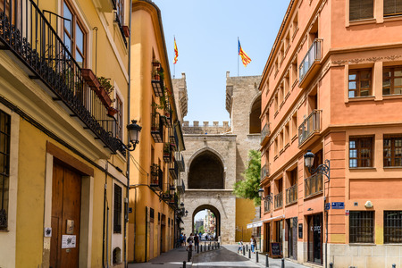 VALENCIA, SPAIN - JULY 21, 2016: Torres (Towers) de Quart A Pair Of Twin Towers That Were Part Of The Medieval Defense Wall Surrounding Old Town of Valencia City.