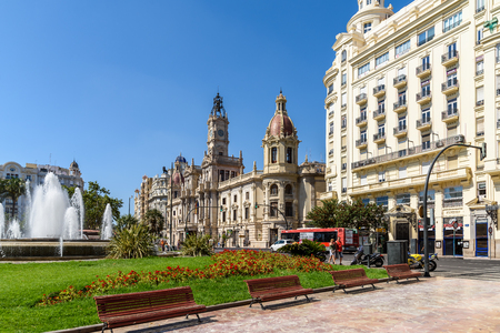 modernisme: VALENCIA, SPAIN - JULY 24, 2016: Plaza del Ayuntamiento (Modernisme Plaza of the City Hall of Valencia) Is One Of The Largest Squares In Valencia And Current Location Of The City Hall And Its Fountain