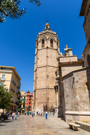 VALENCIA, SPAIN - JULY 24, 2016: Metropolitan Cathedral–Basilica of the Assumption of Our Lady of Valencia (Saint Marys Cathedral or Valencia Cathedral) is a Roman Catholic parish church in Valencia.
