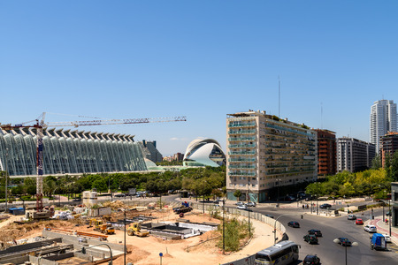 parametric: VALENCIA, SPAIN - JULY 25, 2016: Downtown View Of Valencia City Buildings With Calatrava City Of Arts And Sciences In Sight. Editorial