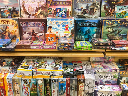 BUCHAREST, ROMANIA - SEPTEMBER 20, 2016: Boardgames For Sale In Entertainment Media Store. Editorial