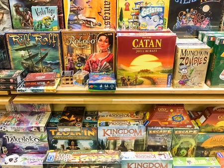 boardgames: BUCHAREST, ROMANIA - SEPTEMBER 20, 2016: Boardgames For Sale In Entertainment Media Store.