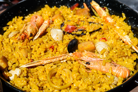 Traditional Valencian Paella With Rice And Seafood
