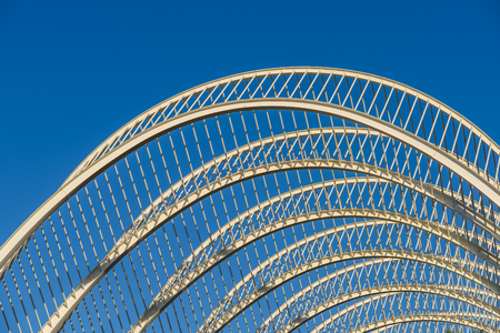 exterior architectural details: Abstract White Architecture On Blue Sky Stock Photo