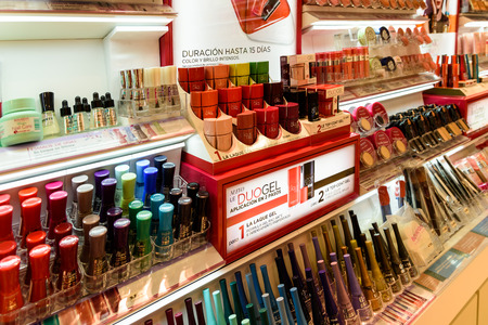 beauty shop: VALENCIA, SPAIN - JULY 20, 2016: Nail Polish Products For Sale In Beauty Shop.