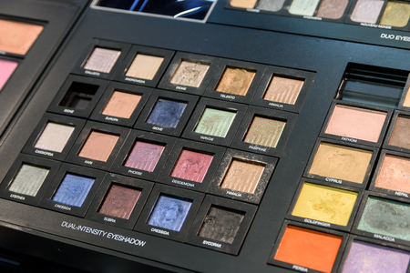 beauty shop: VALENCIA, SPAIN - JULY 20, 2016: Make-Up Products For Sale In Beauty Shop. Editorial