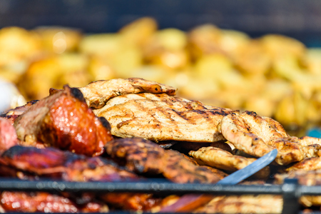 Sausages And Steaks On Barbecue Grill Stock Photo