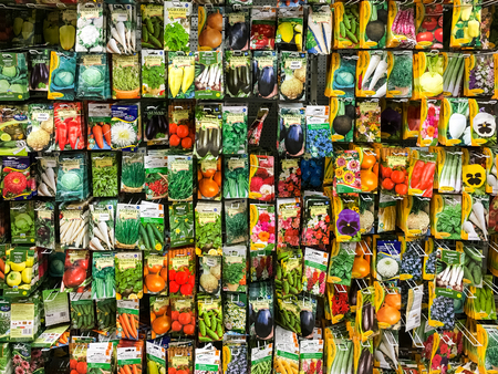 BUCHAREST, ROMANIA -  APRIL 29, 2016: Agriculture Seeds For Vegetable Plants On Sale In Supermarket Stand.