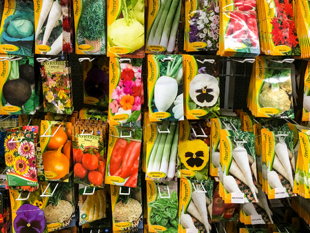 vegetable plants: BUCHAREST, ROMANIA -  APRIL 29, 2016: Agriculture Seeds For Vegetable Plants On Sale In Supermarket Stand.