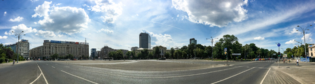 BUCHAREST, ROMANIA - MAY 28, 2016: Panoramic View Of Victory Square, Major Intersection In Downtown Bucharest Of Some Of The Main Streets Calea Victoriei and Kiseleff Boulevard.