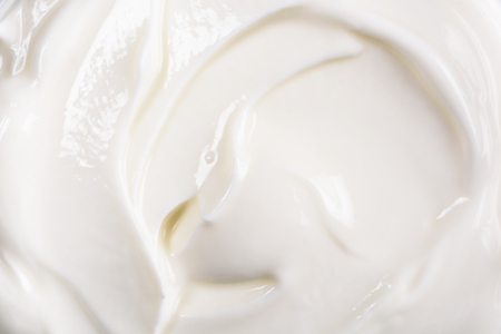 Fresh White Yogurt Background Closeup Stockfoto