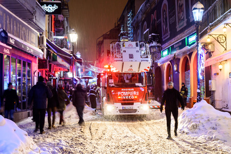 BUCHAREST, ROMANIA - JANUARY 08, 2017: Fireman Intervention In Downtown Lipscani Street Of Bucharest City Old Town.