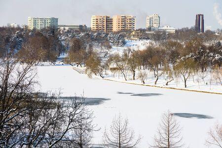 Bucharest City Skyline In Winter