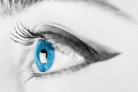 blue eye: Black And White Woman Blue Eye Stock Photo