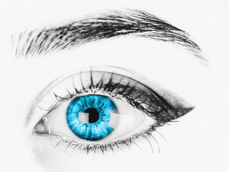 Black And White Woman Blue Eye Stock Photo