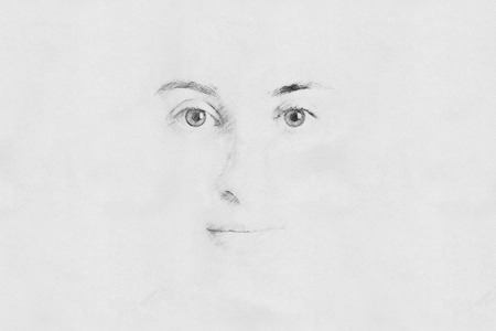 Woman Face Sketch On Paper photo