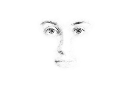 Woman Face Sketch On White photo