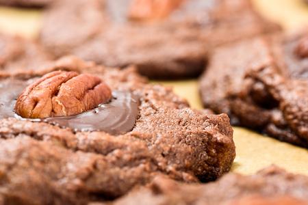 Pecan Chocolate Cookies Close Up