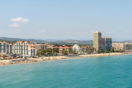 VALENCIA, SPAIN - JULY 28, 2016: Panoramic Skyline View Of Peniscola City Beach Resort At Mediterranean Sea In Spain.