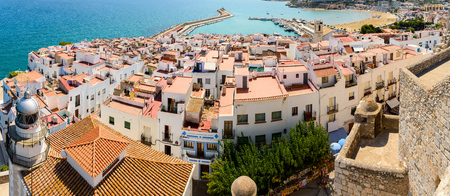 Aerial Panoramic View From Papa Luna Castle Of Peniscola City In Spain