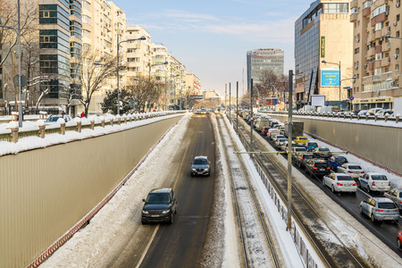 BUCHAREST, ROMANIA - JANUARY 12, 2017: Sunny Winter Day Following A Strong Snow Storm In Downtown Bucharest City.